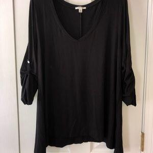 Black V-Neck 3/4 length sleeve Tunic